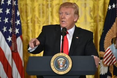 US President Donald Trump speaks during a press conference on February 16, 2017, at the White House in Washington, DC. Trump announced Alexander Acosta as his new nominee to head the US Department of Labor, after his first choice, Andrew Puzder, withdrew from consideration on February 15. / AFP / Nicholas Kamm        (Photo credit should read NICHOLAS KAMM/AFP/Getty Images)