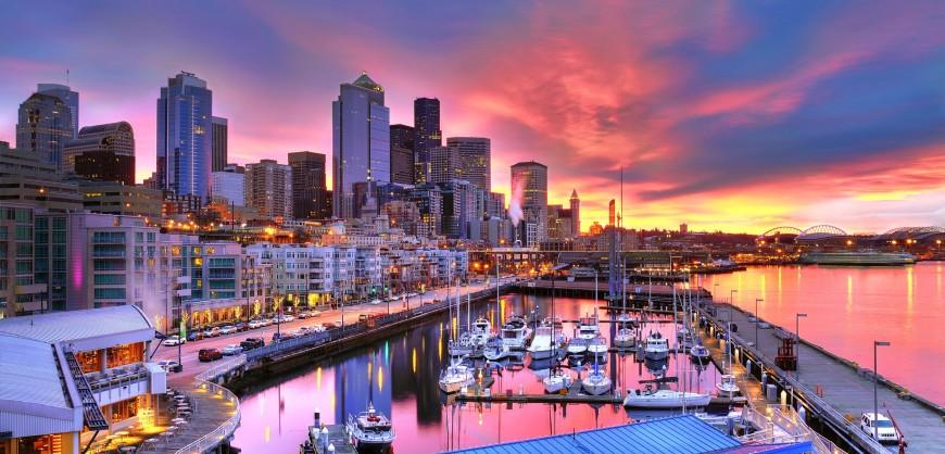 Seattle-skyline-across-Pier-66-waterfront