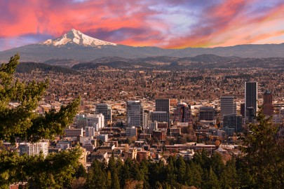 Sunrise View of Portland Oregon from Pittock Mansion.